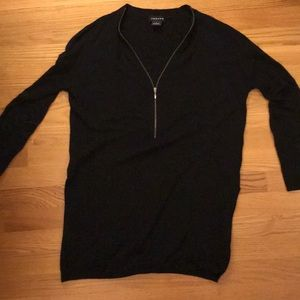 Black Tunic sweater with zip up v neck